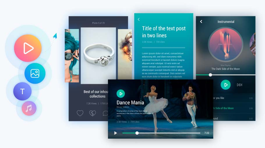 Jets is a media platform for a mix of content like photos, videos, text and music